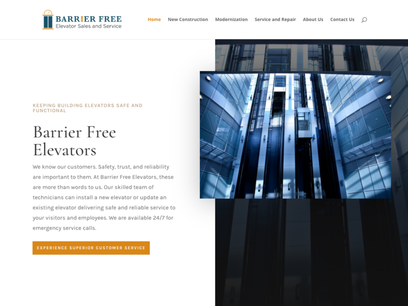 Barrier Free Elevators - Logo, content and website design