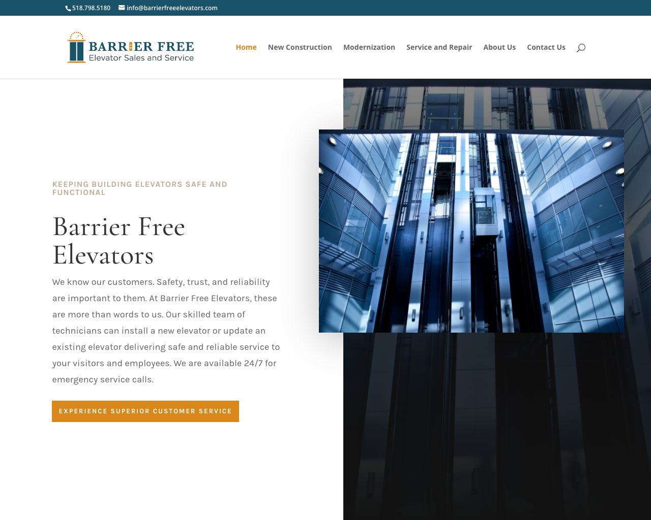 Barrier Free Elevators - Logo, content and website design