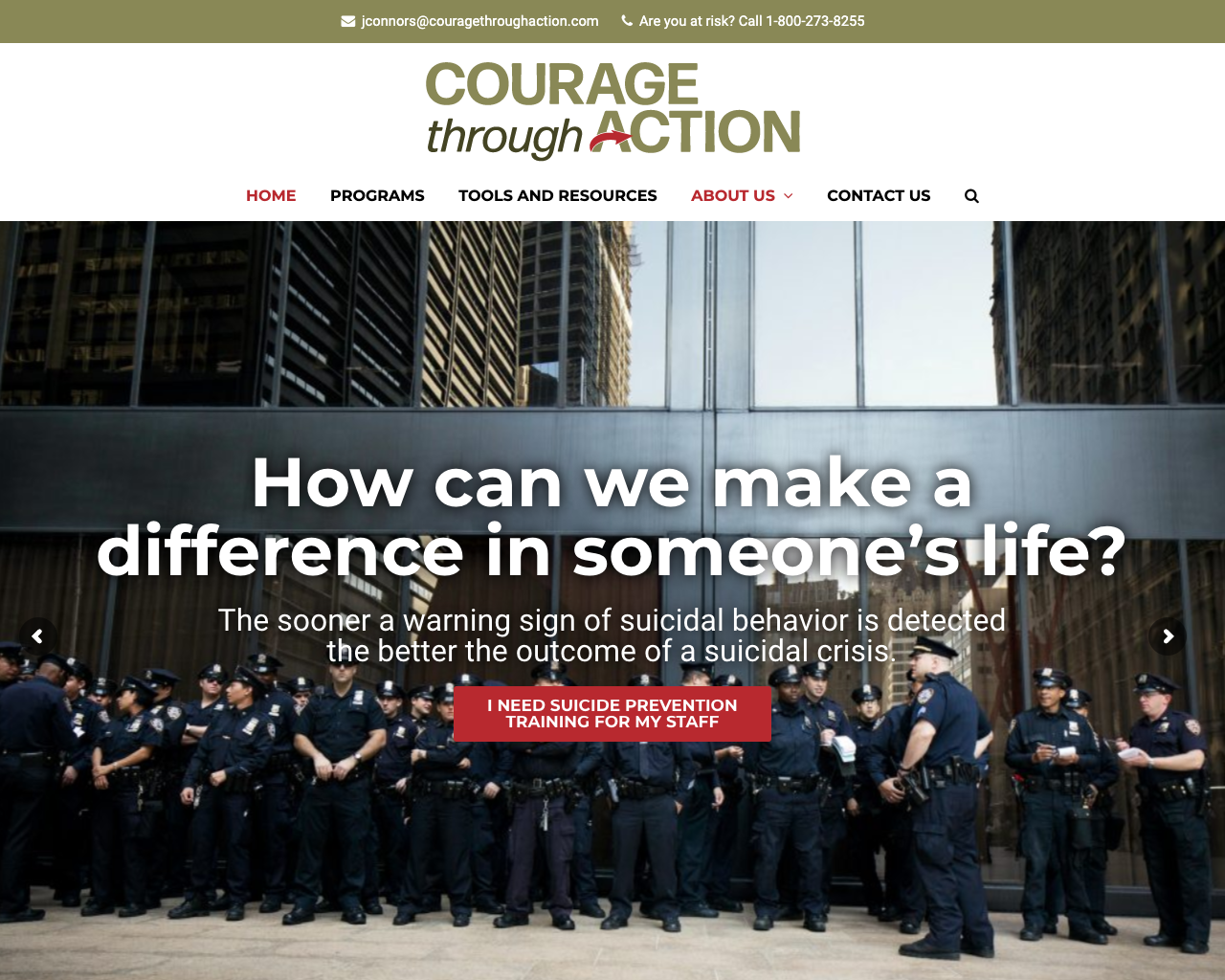 Courage Through Action - Logo, Content, website design