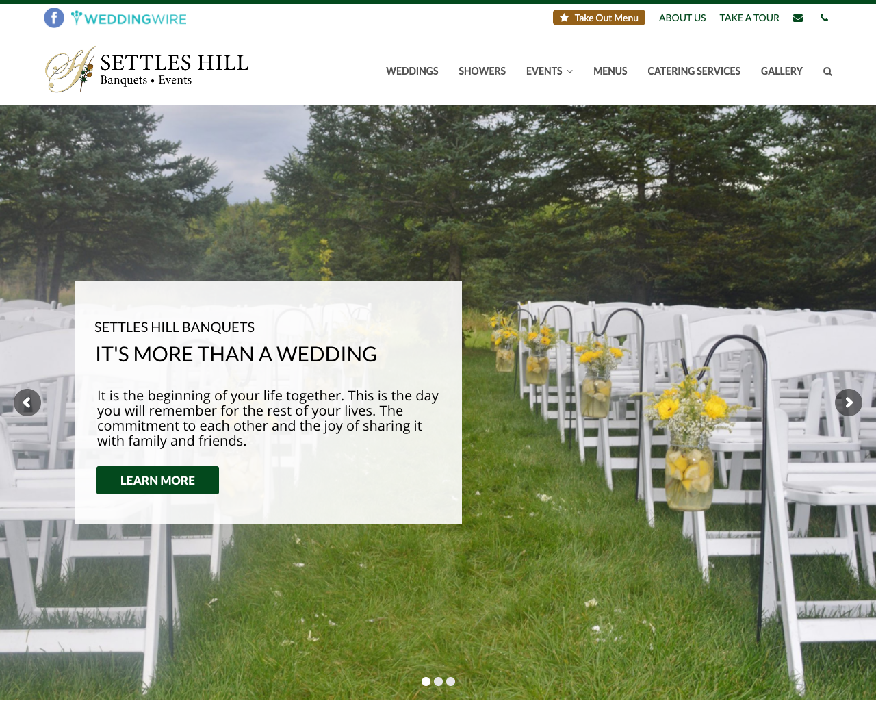 Settles Hill Banquets & Events - Content and Web design